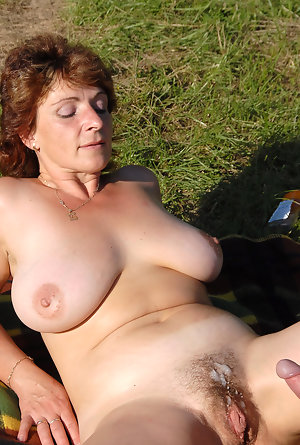 Mature Outdoors Cum Tits